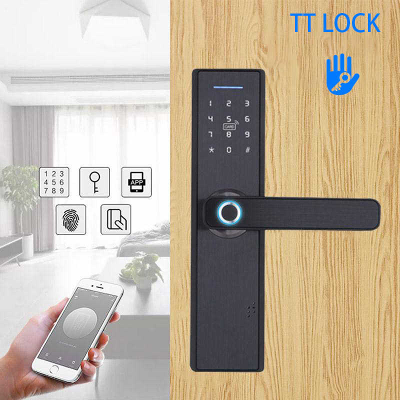 TT Kunci Smart Keamanan Rumah atau Hotel Smart Door Lock Cerradura Inteligente Kata Sandi Sidik Jari Bluetooth Fechadura Digital Lock