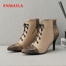 ENMAYLA 2019 Women Shoes PU Lace-Up Thigh High Boots Sexy Ankle for Pointed Toe Winter Basic Size 34-43