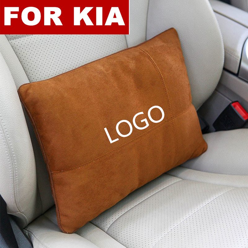 Suede Fabric Car Seat Back Waist Pillow Lumbar Support Rest Pillow for Kia logo RIO K2 K5 Sportage Sorento KX3 KX5 K3S