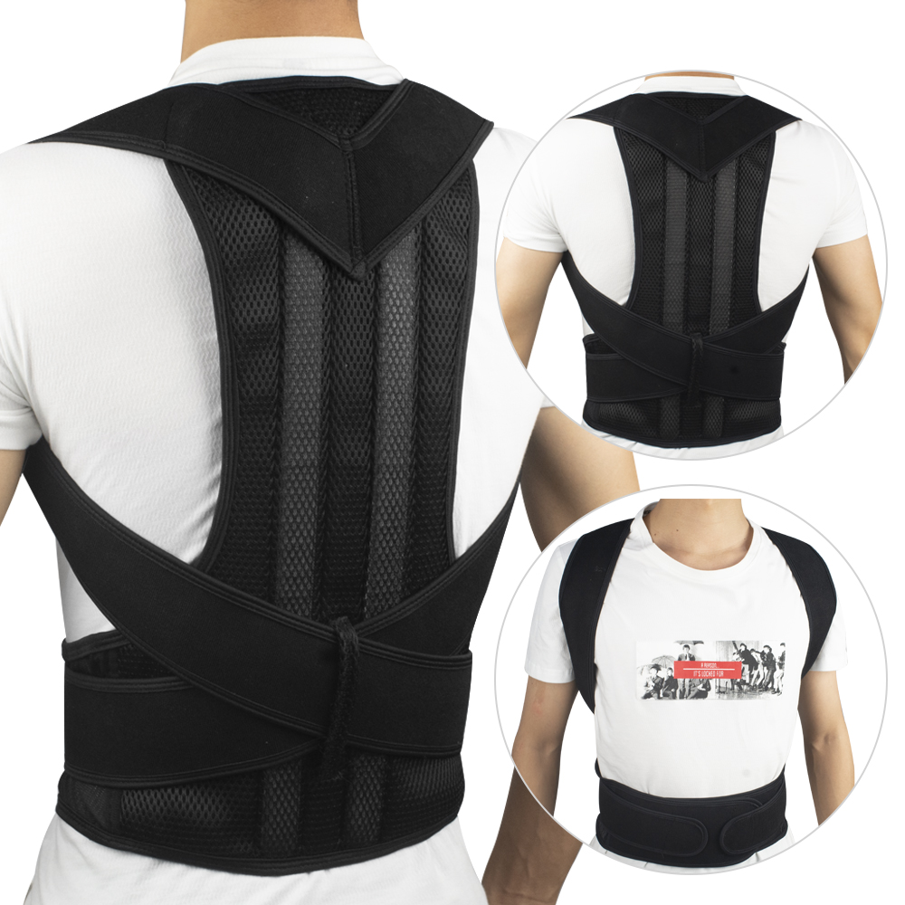 2pcs Unisex Adjustable Posture Corrector Shoulder Back Brace Support Pain Relief Lumbar Spine Support Belt Posture Correction