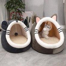 Quente macio gato cama de inverno casa quente caverna cão de estimação ninho macio canil gatinho cama casa saco de dormir para pequeno médio cães suprimentos