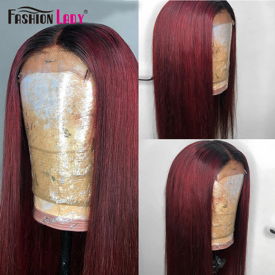 Fashion Lady Lace Closure Wigs Pre-Colored 1b 99j Straight Ombre Human Hair Wigs Brazilian Hair Lace Wig