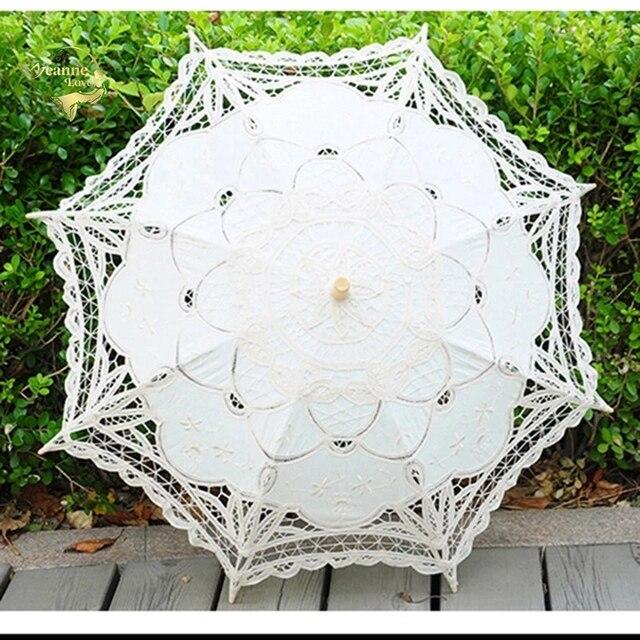 2020 קיץ בציר תחרה כלה מטריות 68cm * 52cm לבן נשים שמש מטריית חתונה מטריית עבור הכלה שמש הגנת מטרייה