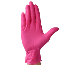 100pcs Wear-Resistant Durable Nitrile Disposable Gloves Rubber Latex Food Medical Household Cleaning Gloves Anti-Static Pink