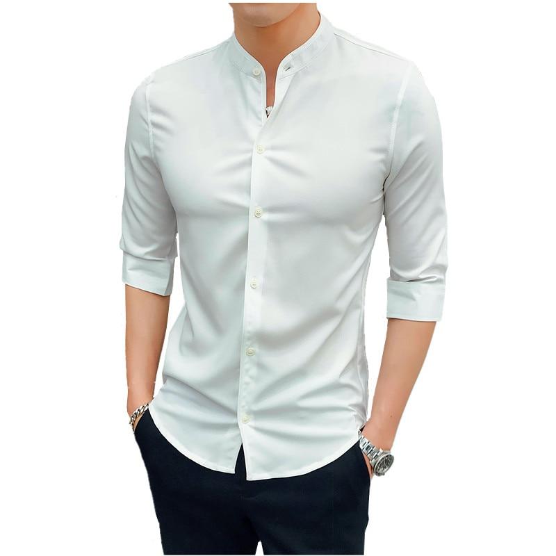 Fashion Men Shirt Three Quarter Sleeve Summer Shirt Men Fashion Slim Shirts White Black Green Gray Man Top  Camisa Masculina