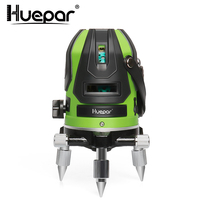 Huepar Multi Line Laser Level Green Beam Self leveling Four Vertical and One Horizontal Lines with Down Plumb Dot Laser Tool