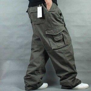 Image 4 - Брюки мужские с широкими штанинами в стиле хип хоп, повседневные хлопковые брюки карго, Свободные мешковатые штаны, уличная одежда, мужские джоггеры