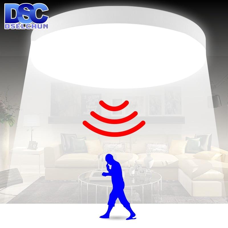 LED Ceiling Light 12W 24W PIR Motion Sensor Modern Lamp Surface Mounted Auto Smart Sounds Control AC 110V 220V Round Panel Light