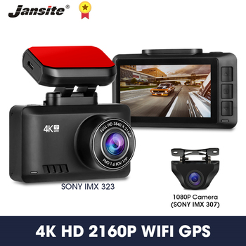 Jansite Dash Cam 4K Ultra HD+1080P Car Camera Recorder DVR Dash Camera GPS WIFI Night Vision 24H Parking Monitor Looping Record image
