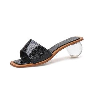 Image 2 - Pzilae 2020 Vrouwen Zomer Slippers Kristal Geometrische Hak Zwart Zilver Sandalen Vierkante Neus Bal Hak Slide Sandalias Mujer