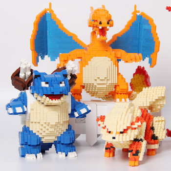 Pokemoned Building Block Snorlax Charizard Bulbasaur Figure Model Blastoise Gyarados DIY Assembled Mini Bricks For Kids Gift 2