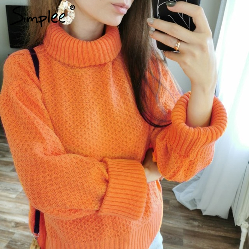Simplee Orange Turtleneck Knitted Women Pullover Sweater Vintage Long Sleeve Autumn Winter Female Sweater Casual Jumper 2019