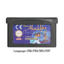 Para nintendo gba cartucho de jogo de vídeo console cartão aladdin versão da ue