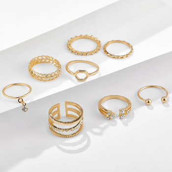 Tocona 8pcs/sets Bohemian Geometric Rings Sets Clear Crystal Stone Gold Chain Opening Rings for Women Jewelry Accessories 9012 3