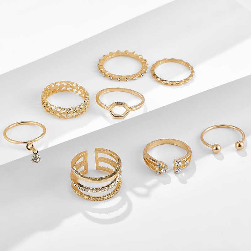 Tocona 8 teile/sätze Böhmischen Geometrische Ringe Sets Klar Kristall Stein Gold Kette Öffnung Ringe für Frauen Schmuck Zubehör 9012