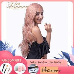 Бесплатная доставка, розовый длинный волнистый синтетический парик с естественной линией волос для черно-белых женщин, косплей, вечерние т...