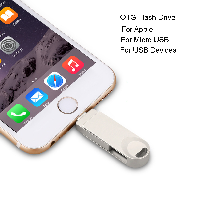 OTG Adapter USB Flash Drive For Lightning Micro USB For Iphone Ipad Android Devices USB 3.0 Devices Pendrive 8G 16G 32G 64G 128G