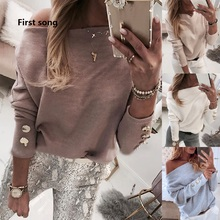 Women's Knit Long Sleeve Buttoned Sweater Shirt 2019New Autumn Elegant Shoulder Solid Color Shirt Women's Solid Casual Top Shirt цена 2017