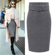 New fashion autumn and winter 2019 cotton large size high waist casual pencil skirt