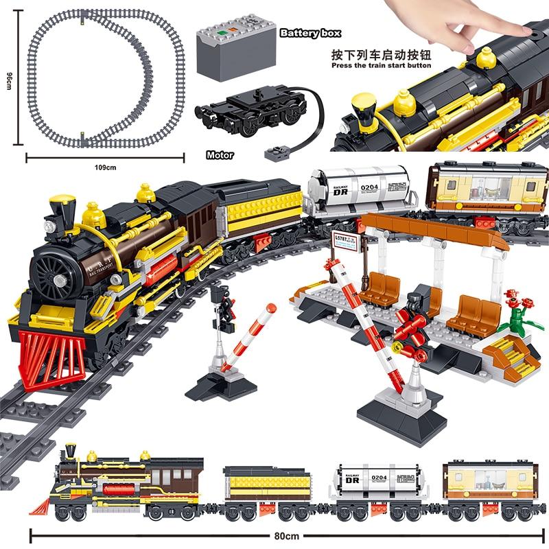 1464pcs Creator Technic Battery Powered Electric Classic City Train Rail Building Blocks Bricks legoinglys Toys For kids gifts