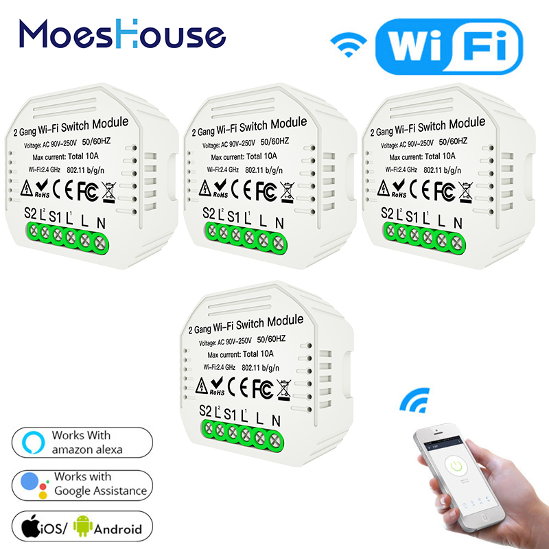2 Gang 2 Way Wifi Smart Light Switch Diy Module Smart Life/Tuya APP Wireless Control,Working With Alexa Echo Google Home 4 Pcs