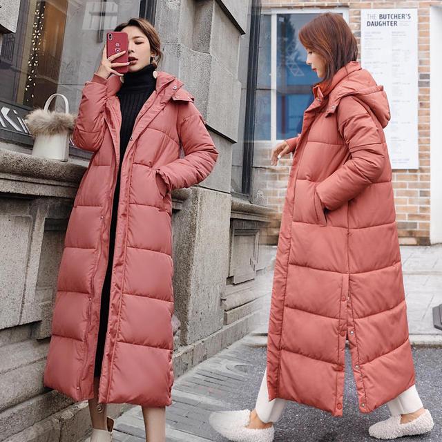 Kobiet dół bawełny kurtka zimowa płaszcz Super długie parki z kapturem studenci luźne kobiet kurtka ciepłe kurtki zimowe płaszcze C5872
