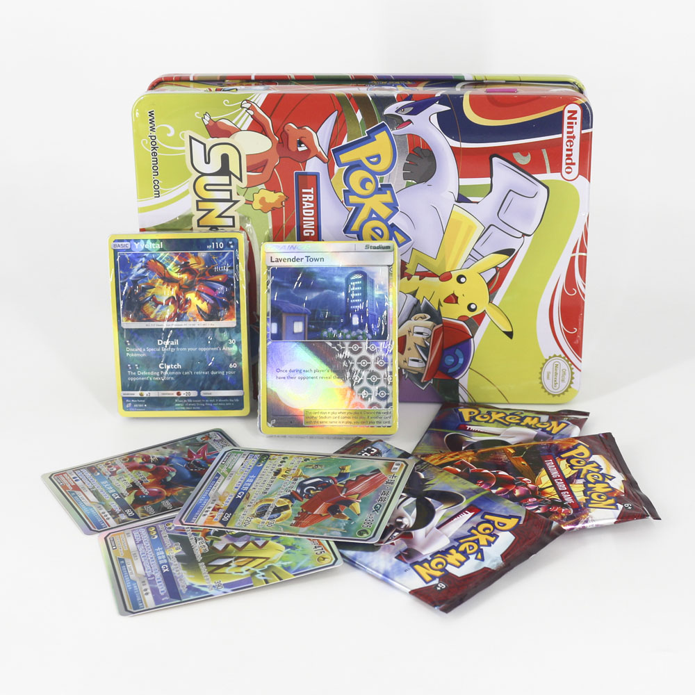 Takara Tomy Pokemon Card TCG 123pcs Table Card Game Flash Collections GX Evolutions Children Toys Metal Box Big Shining image