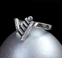 Unique Silver Zircon Ladder Engagement Ring Cocktail Party Women's Jewelry Anniversary Christmas Gifts
