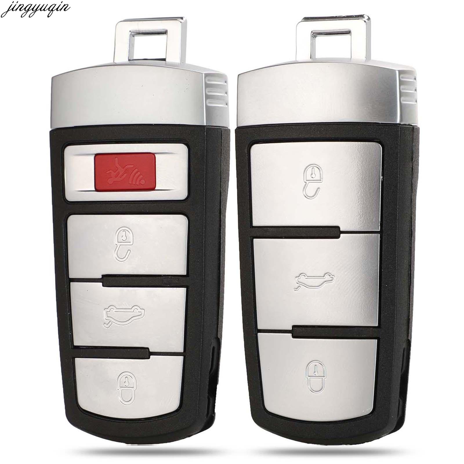 Jingyuqin-funda para mando a distancia del coche para Volkswagen Passat B6 3C B7 Magotan CC 3/4 botones, mando a distancia inteligente sin llave