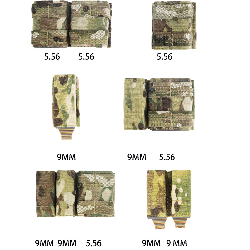 Tactical Airsoft 5.56 9MM Side Triple Magazine Pouch Multicam Vest Molle Mag Ammo Pouch Bags