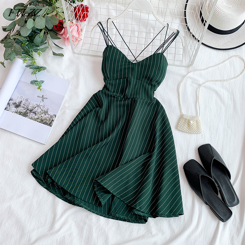 FTLZZ 2020 New Women Sexy V-neck Backless Spaghetti Strap Dress Summer Striped Slim A-line Ladies Sandy Beach Clothes
