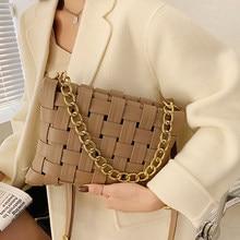 Borse a tracolla a spalla in pelle di alta qualità con Design intrecciato per donna 2021 nuove borse a catena da donna con catena Baguette