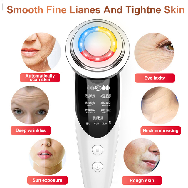 7in1RF&EMS Radio Mesotherapy Electroporation rf lifting Beauty LED Photon Face Skin Rejuvenation Remover Wrinkle Radio Frequency 2