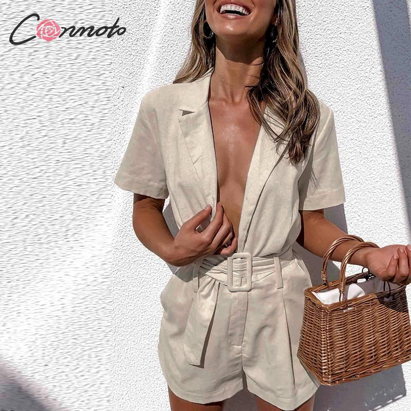 Image 4 - Conmoto button belt tie summer plusysuits romper women causal linen beach playsuits romper white beach short jumpsuit romperRompers   -