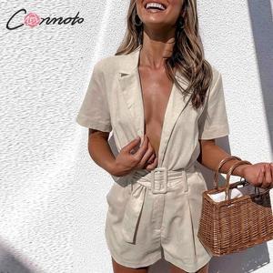 Image 4 - Conmoto כפתור חגורת עניבת קיץ plusysuits romper נשים סיבתי פשתן חוף playsuits romper לבן חוף קצר סרבל romper