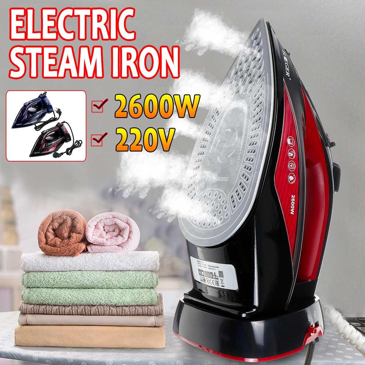 3 vitesses ajuster la semelle en céramique 2600W professionnel sans fil fer à repasser sans fil fer à repasser électrique fer à vapeur repassage rapide 350ml