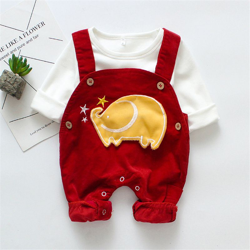 New Cartoon Elephant Print Baby Boy Sets White Top Red Romper Two-piece Girl 0-12M Newborn Clothes