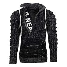 Men Knitted Sweaters Autumn Winter Letters Sweater Long Sleeve Turn Down Collar Ripped Hooded Thick Pullovers Warm With Pocket
