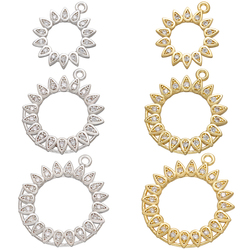 ZHUKOU big/small gold/silver color Round Sun earrings charms for DIY jewelry accessories Supplies pendant Accessories VD769