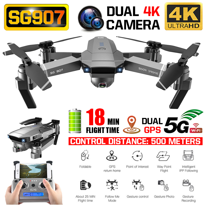SG907 Drone 4k Camera X50 ZOOM Wide Anti shake 5G WIFI FPV Gesture photo GPS Professional Dron RC Helicopter Quadcopter Xmas|Camera Drones| |  - title=