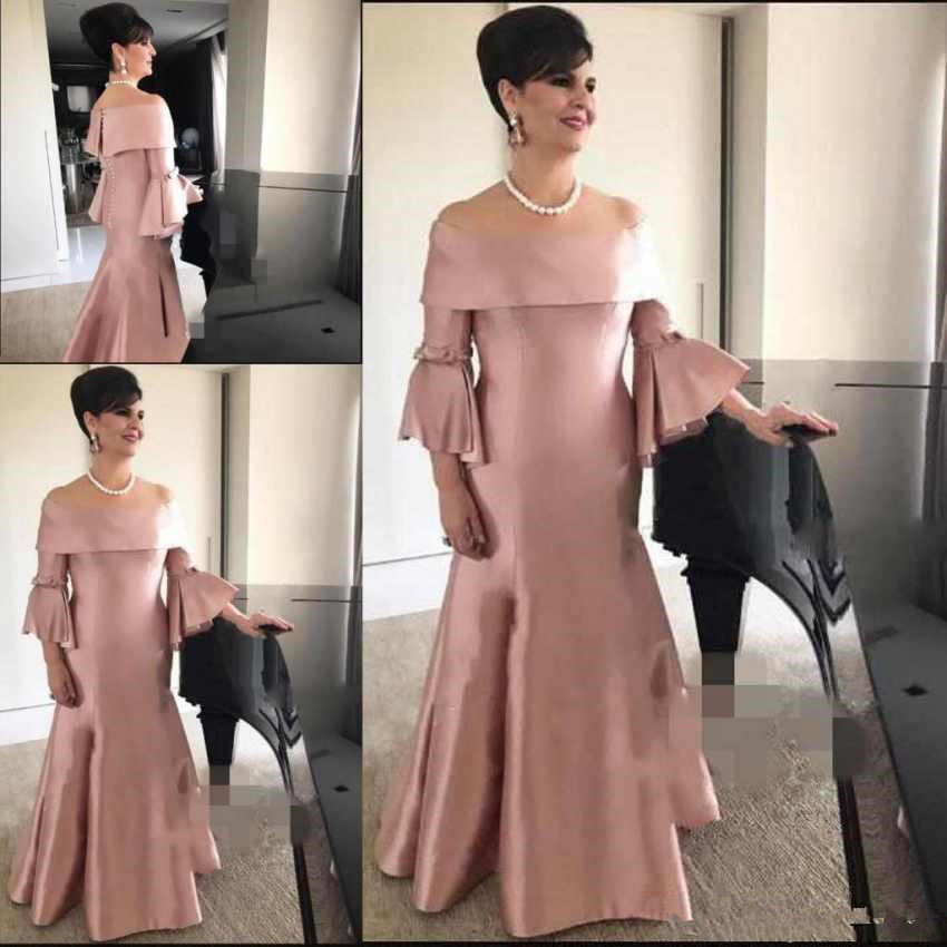 Robe De Soiree Sexy Mother Of The Bride Dresses 2019 Off The Shoulder Long Sleeves Cheap Plus Mermaid Evening Party Gowns