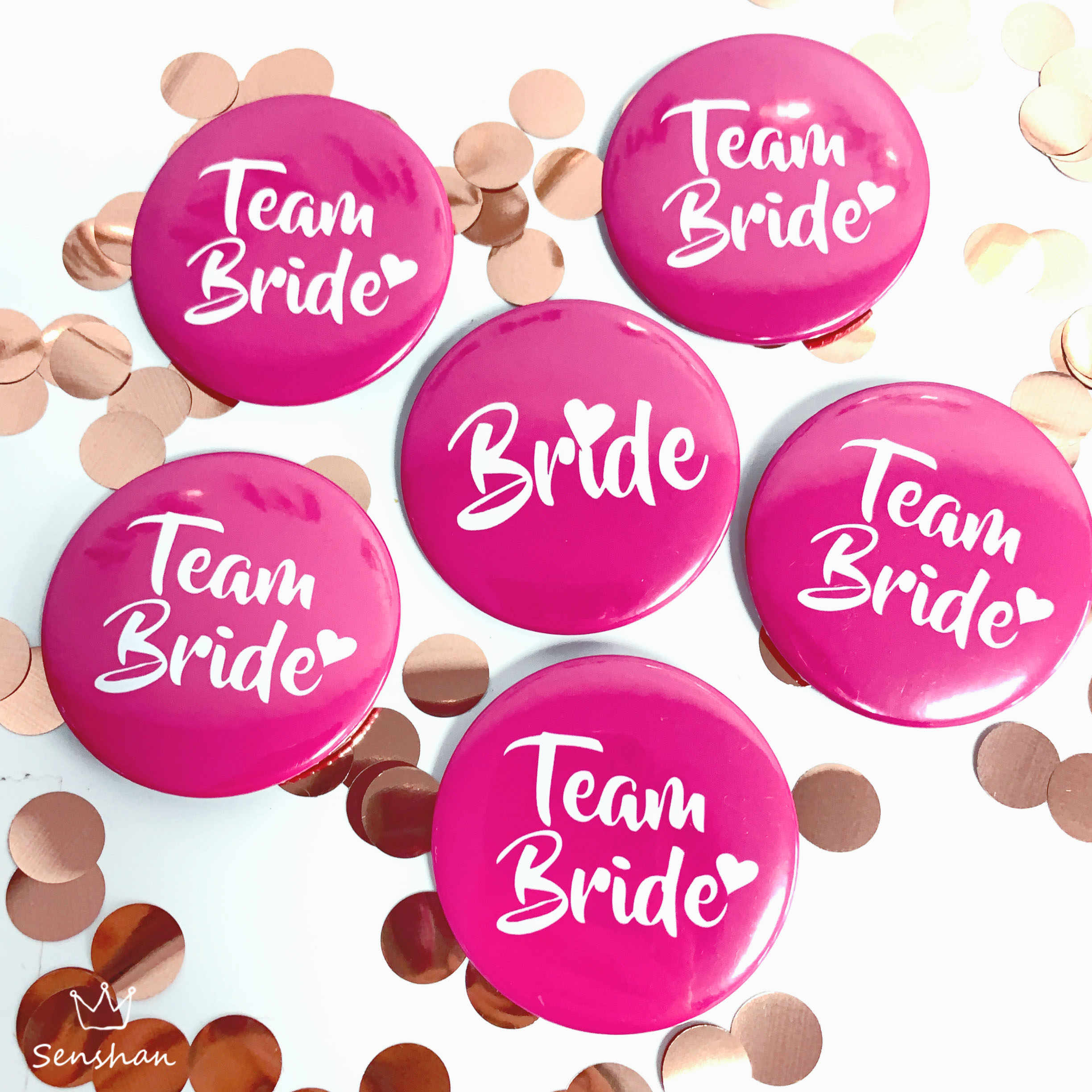 6 Pcs Rose Red Bruid Om Badge Bachelor Party Team Bruid Decor Hen Night Party Decoration Wedding Bridal Shower levert