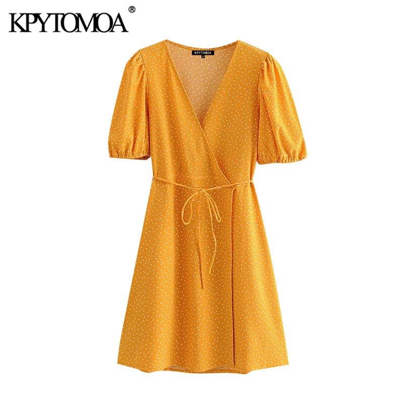 KPYTOMOA Women 2020 Chic Fashion With Belt Polka Dot Wrap Mini Dress Vintage V Neck Puff Sleeve Female Dresses Vestidos Mujer