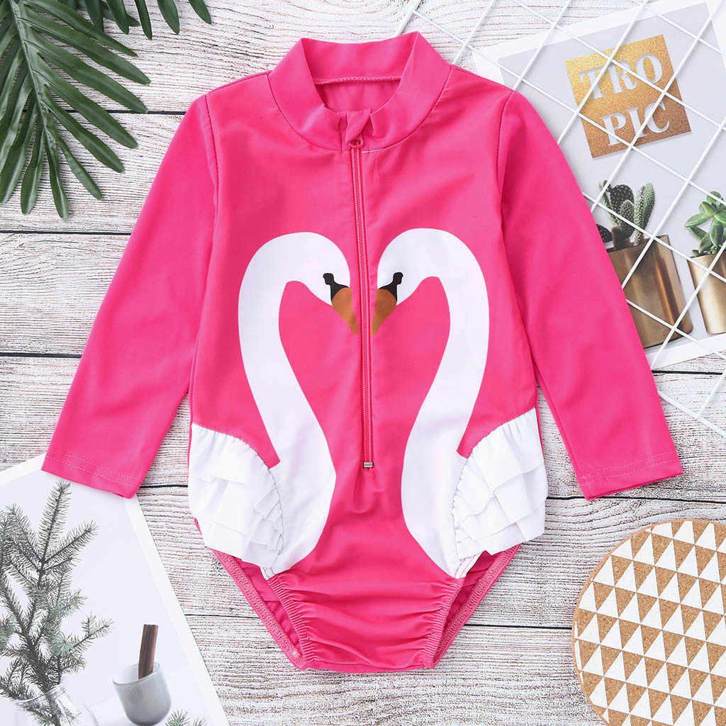 Swan Lengan Panjang One-Piece Swimsuit Bayi Bayi Gadis Kapas Kartun K Berlaku Baju Renang Ritsleting Perlindungan Sinar UV Bikini Di Pantai