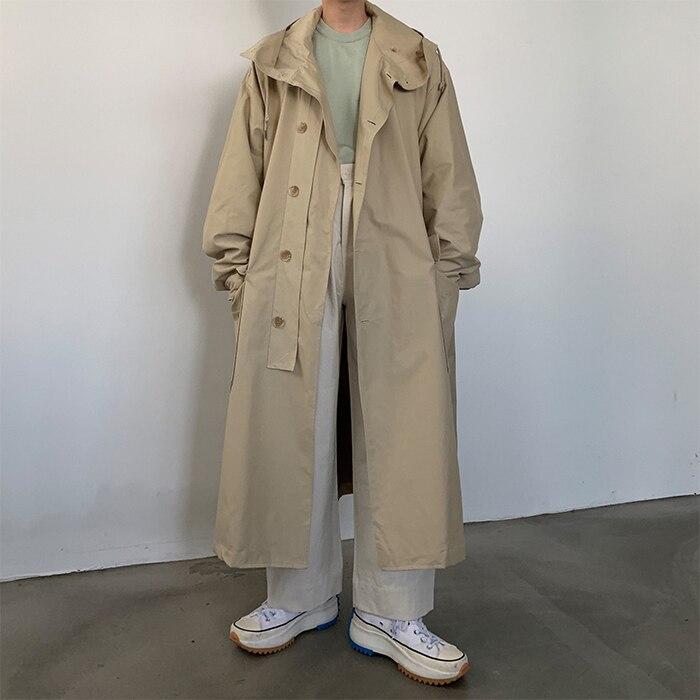 Мужское пальто свободного кроя с капюшоном, хлопковая стеганая длинная куртка для мужчин и женщин, уличная винтажная верхняя одежда, ветровка, плащ - 4