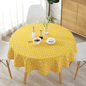 Round Tablecloth Cover Christmas-Tree-Pattern Washable Nordic Cotton Stripe Linen