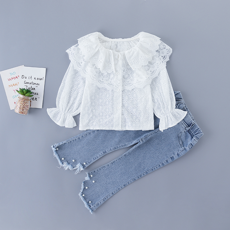 3-7 Years High Quality Spring Girl Clothing Set 2020 New Fashion Casual White Shirt + Jeans Kid Children Girls Clothing