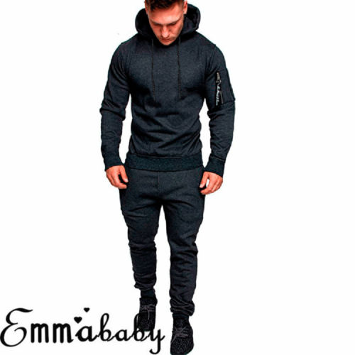 Hirigin 2019 New Winter 2pcs Mens Tracksuit Jogging Tops Sport Sweat Suit Hoodie Coat Trousers Pant Set