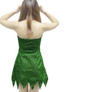 Image 5 - 2019 nowy Pixie bajki Cosplay kostium Dzwoneczek zielony dla dorosłych sukienka Tinkerbell Halloween Party Sexy Cosplay Mini sukienki z długim rękawem duże peruka