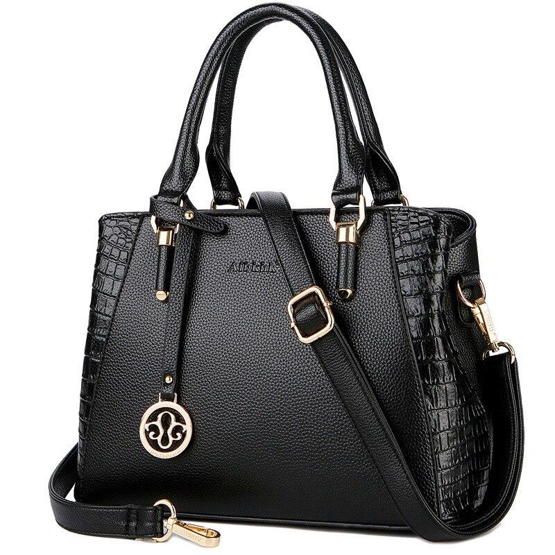 Luxury Tote Fashion Alligator Pattern Design Women Handbags Genuine Leather Shoulder Messenger Bag Crossbody Ladies Bags